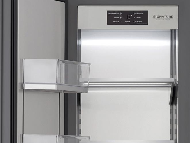 Dettaglio interno del congelatore a colonna Signature Kitchen Suite